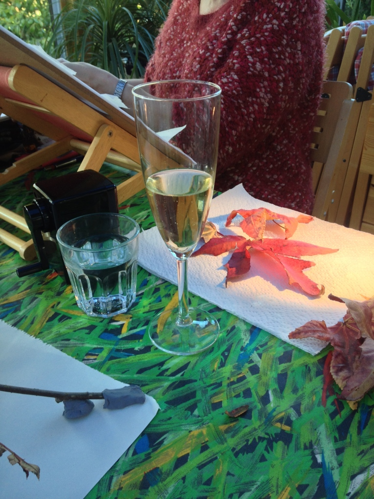 Celebration of 'all' Coloured Pencil class, with fizz and of course water.