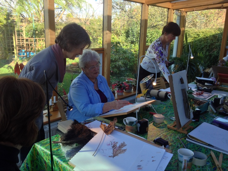 Two CP botanical artists sharing their knowledge.