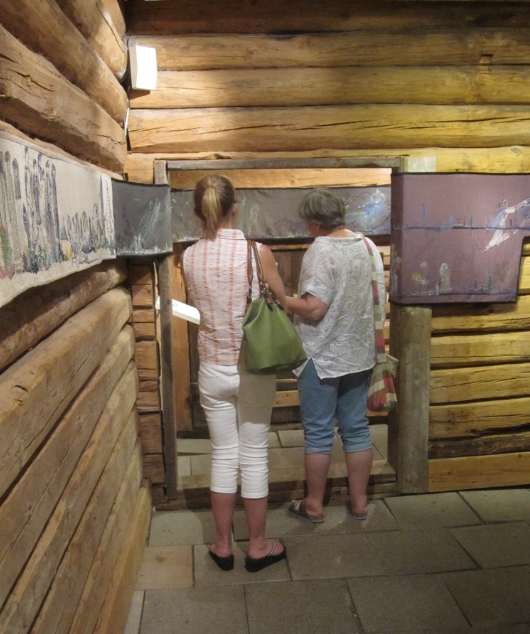 Looking at part of the exhibition in the held in the Mine managers house at Blåfarveværket.