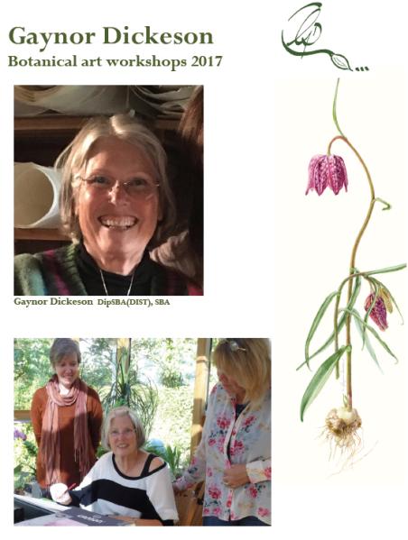 Botanical art workshop booking form for 2017